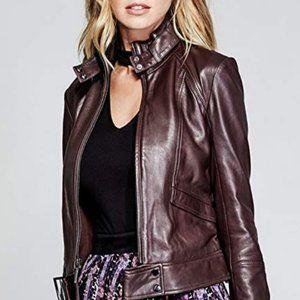 NWOT Burgundy Marciano Kiara Leather Jacket sz-M
